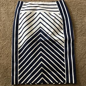 J. Crew Navy Stripped Pencil Skirt